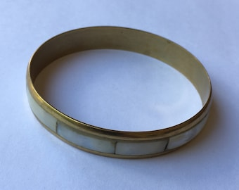 Vintage Mother of Pearl and Brass Bangle