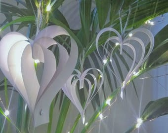 Vintage White Hanging Heart Decorations, Wedding Decorations, Engagement Decorations, Hen Party, Christmas Decoration, Bridal Shower,