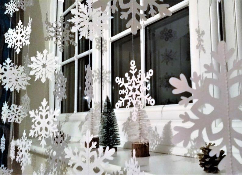 Snowflake Garland White Christmas Garland Holiday Window image 0