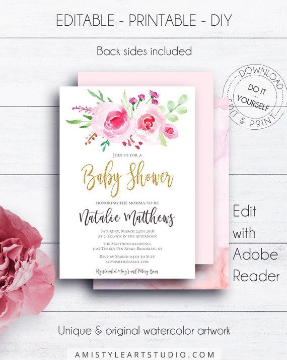 Rose Blumen Baby-Dusche druckbare laden Aquarell   Etsy