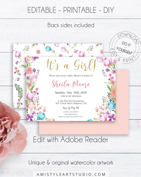 Floral baby girl shower invitation template its a girl solutioingenieria Choice Image