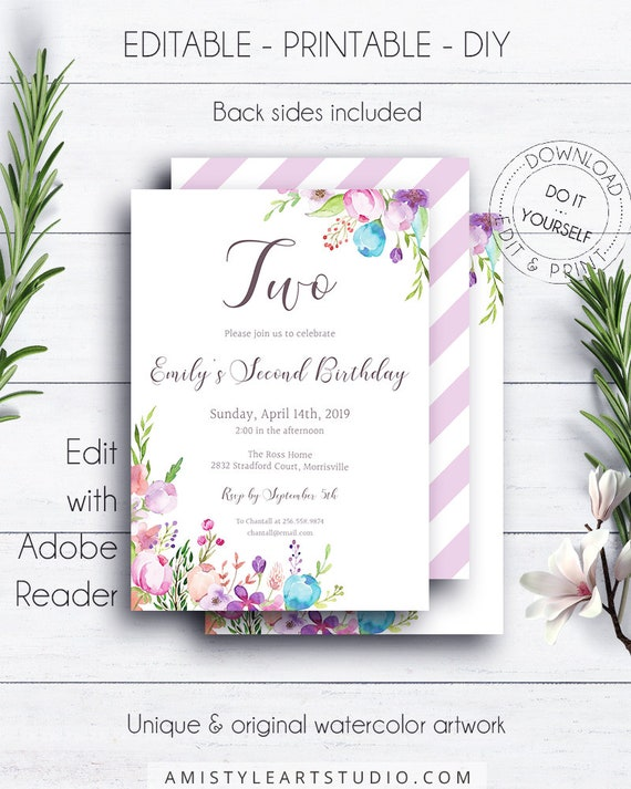 2nd Floral Birthday Invitation Template Girl Party