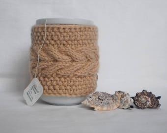 Mug  cozy Mug heater knitted mug warm beige cup is cozy tea cup is cozy warmer for a cup knitted cup is cozy