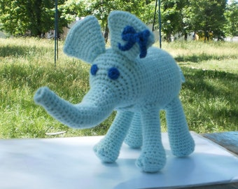 Crocheted elephant Stuffed elephant Soft plush toy Doll stuffed animal Handmade toy elephant plush Amigurumi elephant  Zoo nursery decor