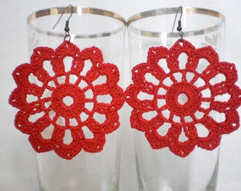 Red Crochet Earrings Round red earrings lace earrings Red Jewelry Openwork earrings Earrings made of lace Earrings made by hand