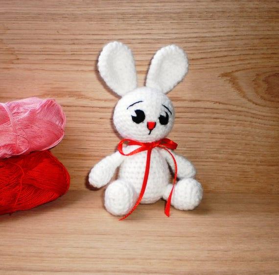 Crochet Bunny Plush White Bunny Amigurumi Baby Bunny Stuffed Etsy