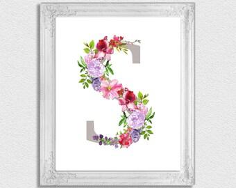 Letter S Monogram, Floral Monogram, Nursery Monogram, Printable Monogram  Letters, Initial Print, Letter S, Nursery Letters, Alphabet Letters