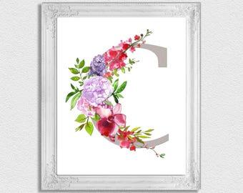 Letter C Monogram, Floral Monogram, Nursery Monogram, Printable Monogram  Letters, Initial Print, Letter C, Nursery Letters, Alphabet Letters