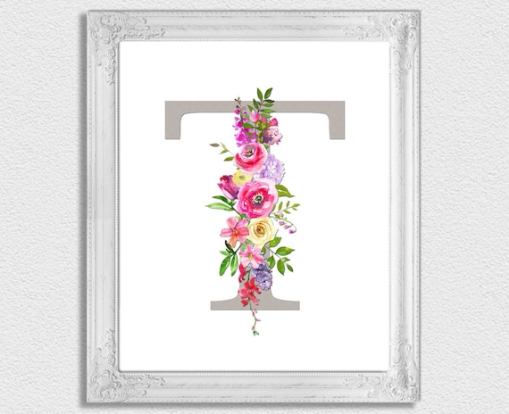 photograph relating to Printable Monogram Letters referred to as Letter T Monogram, Floral Monogram, Nursery Monogram, Printable Monogram Letters, Very first Print, Letter T, Nursery Letters, Alphabet Letters