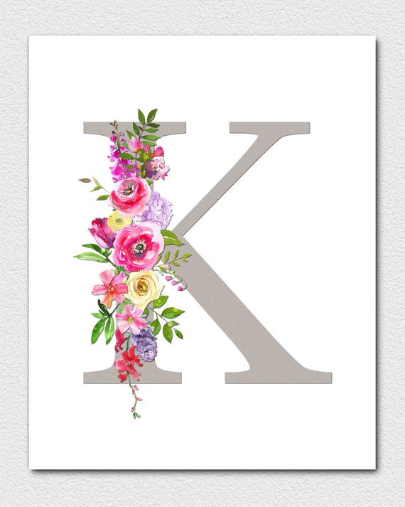 graphic about Printable Monogram Letters named Letter K Monogram, Floral Monogram, Nursery Monogram, Printable Monogram Letters, To start with Print, Letter K, Nursery Letters, Alphabet Letters