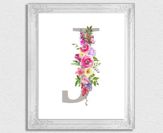 image regarding Printable Monogram Letters called Letter J Monogram, Floral Monogram, Nursery Monogram, Printable Monogram Letters, Initially Print, Letter J, Nursery Letters, Alphabet Letters