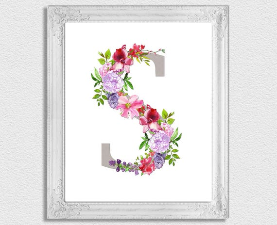 picture relating to Printable Monogram Letters identify Letter S Monogram, Floral Monogram, Nursery Monogram, Printable Monogram Letters, 1st Print, Letter S, Nursery Letters, Alphabet Letters