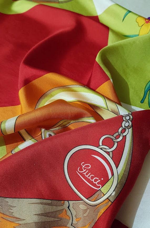 Authentic GUCCI silk scarf/ designer neck scarf/ v