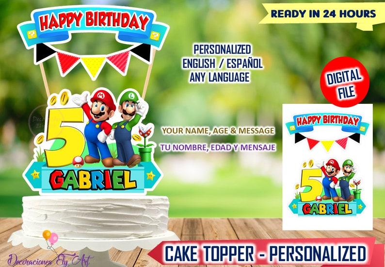 24 Super Mario Birthday Celebration Personalised Cake Topper