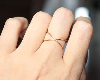 Wire X Ring, Criss Cross Ring, Gold X Ring, Knuckle Ring, Adjustable, Simple, Delicate Ring, Wire Ring