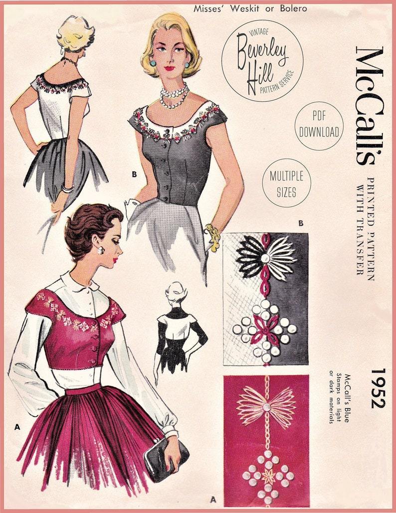 Vintage Western Wear Clothing, Outfit Ideas     Vintage Sewing Pattern Reproduction - 1950s Embellished Weskit or Bolero Embroidery Multi Sized Bust 30 32 34 Inches INSTANT DOWNLOAD PDF $12.50 AT vintagedancer.com
