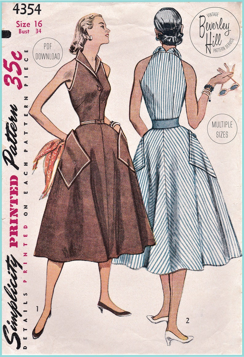 Vintage Western Wear Clothing, Outfit Ideas     Vintage Sewing Pattern Reproduction 1950s 50s Chic Collared Sleeveless Dress Large Pocket Multi Sizes Bust 30 32 34 36 38 INSTANT DOWNLOAD $14.50 AT vintagedancer.com