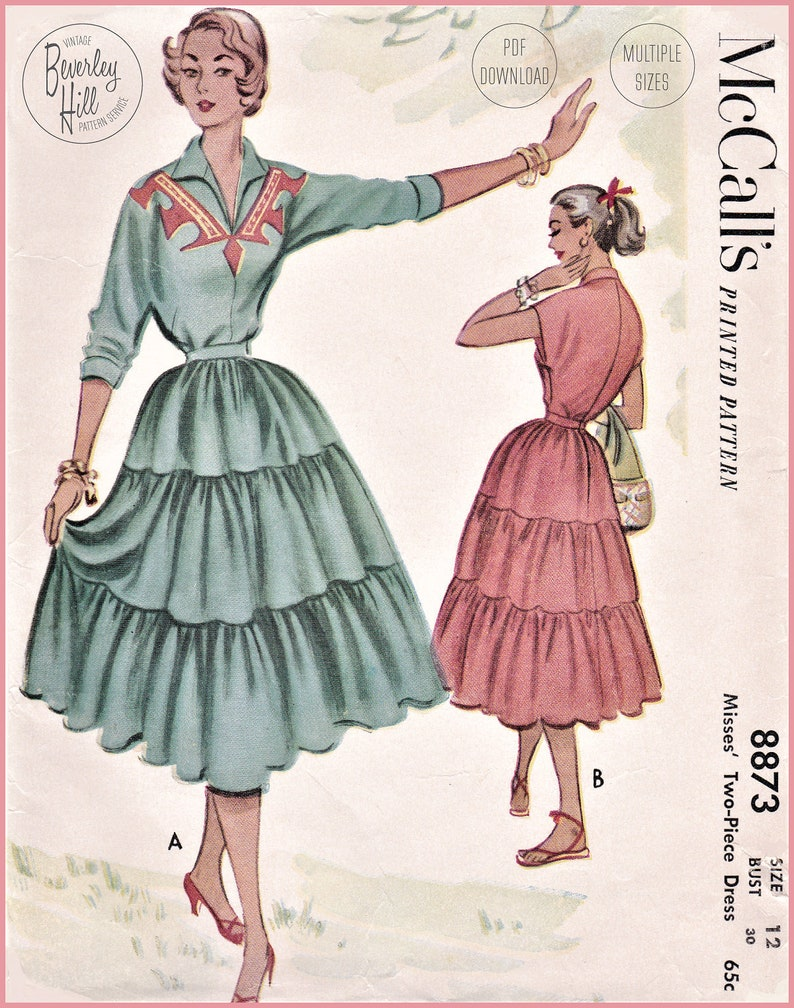Vintage Western Wear Clothing, Outfit Ideas     Vintage Sewing Pattern Reproduction - 1950s 50s Two-Piece Patio Dress Set - Multiple Sizes Bust 30 32 34 36 38 - INSTANT DOWNLOAD $14.50 AT vintagedancer.com