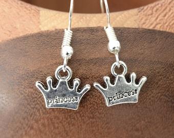 Earrings Princess crowns, wreaths Princess silver clips