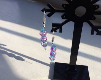 Pink and Sky Blue Earrings