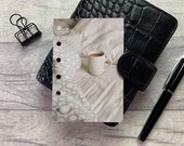 Neutral Bed and Mug Dashboard - Fits A5, B6, Personal Wide, Personal, A6, Pocket, Mini Ring Planners. Protective Cover.