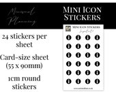 Mini Icon Stickers - Important - Functional Stickers for Planning. Minimal Planner Deco for Planners. 24 Stickers on One Sheet