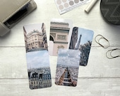 Journal Cards - Cool Tone Paris Set - 5 Pack for Planner Deco - Use as Bookmarks, Decoration - Clip and Card Holder Options