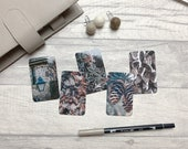 Journal Cards - Cool Winter Tones - 5 Pack for Planner Deco - Use as Bookmarks, Decoration - Clip and Card Holder Options