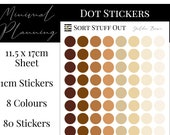 Golden Brown Planner Dot Stickers - Colour Code your Planning. Minimal Planner Deco for All Planners. 80 Stickers on One Sheet