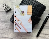 Pocket Size Planner Dashboard - Protective Cover for Ring Planner Inserts - Rose Gold Watch