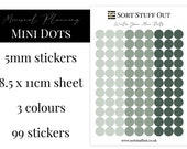 Winter Green Mini Dot Stickers - Mark off Dates and Occasions - Minimal Functional Stickers - Small Sheet fits in Most Planners