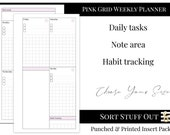 Pink Grid Weekly Planner - WO2P - Habits and Notes - Minimal Printed Insert - A5, B6, Personal Wide, Personal, A6 and Pocket Ring Planners