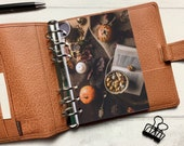 Autumn Tea, Books and Pumpkins Dashboard - Fits A5, B6, Personal Wide, Personal, A6, Pocket, Mini Ring Planners. Protective Cover.