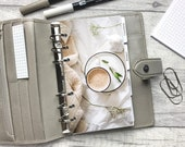 Latte & Foliage, Cosy Neutral Aesthetic Dashboard - Fits A5, B6, Personal Wide, Personal, A6, Pocket, Mini Ring Planners. Protective Cover.