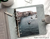 B6 Planner Dashboard - Protective Cover for Ring Planner Inserts - Venice Canal - Gondolas