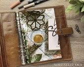 Espresso on Tiles Dashboard - Fits A5, B6, Personal Wide, Personal, A6, Pocket, Mini Ring Planners. Protective Cover.