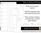 Mix & Match Week on 2 Pages - WO2P - Minimal Classic Design - Printed Insert - A5, B6, Personal Wide, Personal, A6, and Pocket Ring Planners