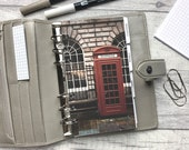 Personal Size Planner Dashboard - Protective Cover for your Ring Planner Inserts - London Street - Vintage Telephone Box