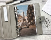 Personal Size Planner Dashboard - Protective Cover for your Ring Planner Inserts - Paris - Eiffel Tower - Sunset - Warm Tones