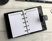 PRINTED - Basic Grid and Header Insert - Grey - for Filofax Mini. Minimal Design. Use for Note Section in Mini Ring Planner