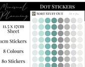 Teal and Grey Planner Dot Stickers - Colour Code your Planning. Minimal Planner Deco for All Planners. 80 Stickers on One Sheet