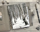 Winter Snow Forest Dashboard - Fits A5, B6, Personal Wide, Personal, A6, Pocket, Mini Ring Planners. Protective Cover.