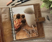 A5 Planner Dashboard - Protective Cover for Ring Planner Inserts - Cup & Dried Flowers - Warm Tones