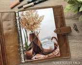 A5 Planner Dashboard - Protective Cover for Ring Planner Inserts - Wooden Vase - Warm Tones