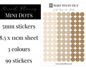 Just Beige Mini Dot Stickers - Mark off Dates and Occasions - Minimal Functional Stickers - Small Sheet fits in Most Planners