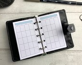 PRINTED - Monthly Undated Grid Insert - Blue - Including note area for Filofax Mini. Minimal Design. Functional Planning