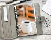 Personal Size Planner Dashboard - Protective Cover for your Ring Planner Inserts - Coffee Cup - Begin - Motivation