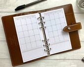 PRINTED - Personal Size MO2P Monthly Insert for Ring Planners. Includes Note Space. Neutral Minimal Grid Design. Fits LV MM and Kikki K Med.
