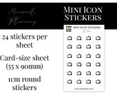 Mini Icon Stickers - TV Time - Functional Stickers for Planning. Minimal Planner Deco for All Planners. 24 Stickers on One Sheet