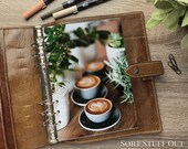 A5 Planner Dashboard - Protective Cover for Ring Planner Inserts - Latte Art & Pot Plants - Foliage